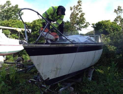 How is an 'end of life fibreglass boat' recycled?