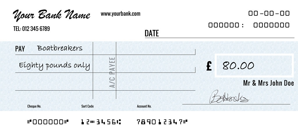 10 Month Boat Scrap Finance - 10 Payments Cheque