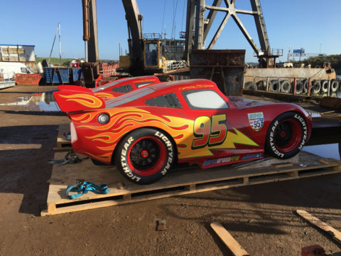 Disney Magic at the Boatbreakers Yard - Lightning McQueen Cars in for scrap