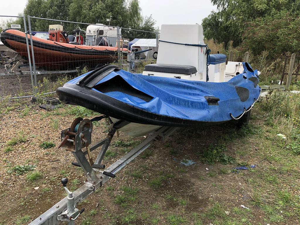 Scrap a Boat - A Rib Left unused and damaged.