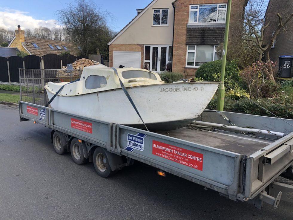 Boat left in a garden