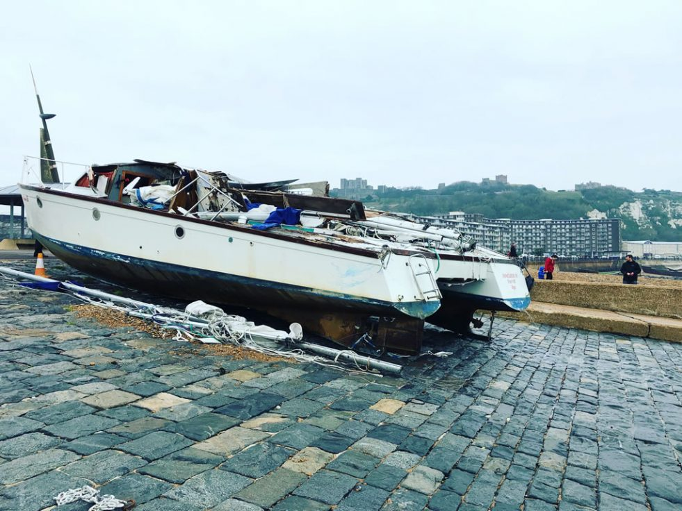 Wrecked Catamaran in Dover