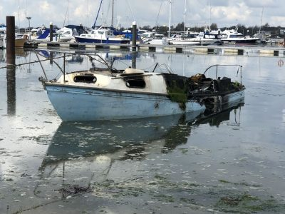 Abandoned Yacht Collection Saga - Burnt out yacht sinking