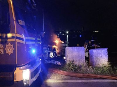 Abandoned Yacht Collection Saga - Fire crews dealing with a boat fire