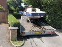 Scrap Yacht from Lymington Car Park loaded and ready to move