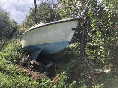Boat in a field Marine Recycling in Kent