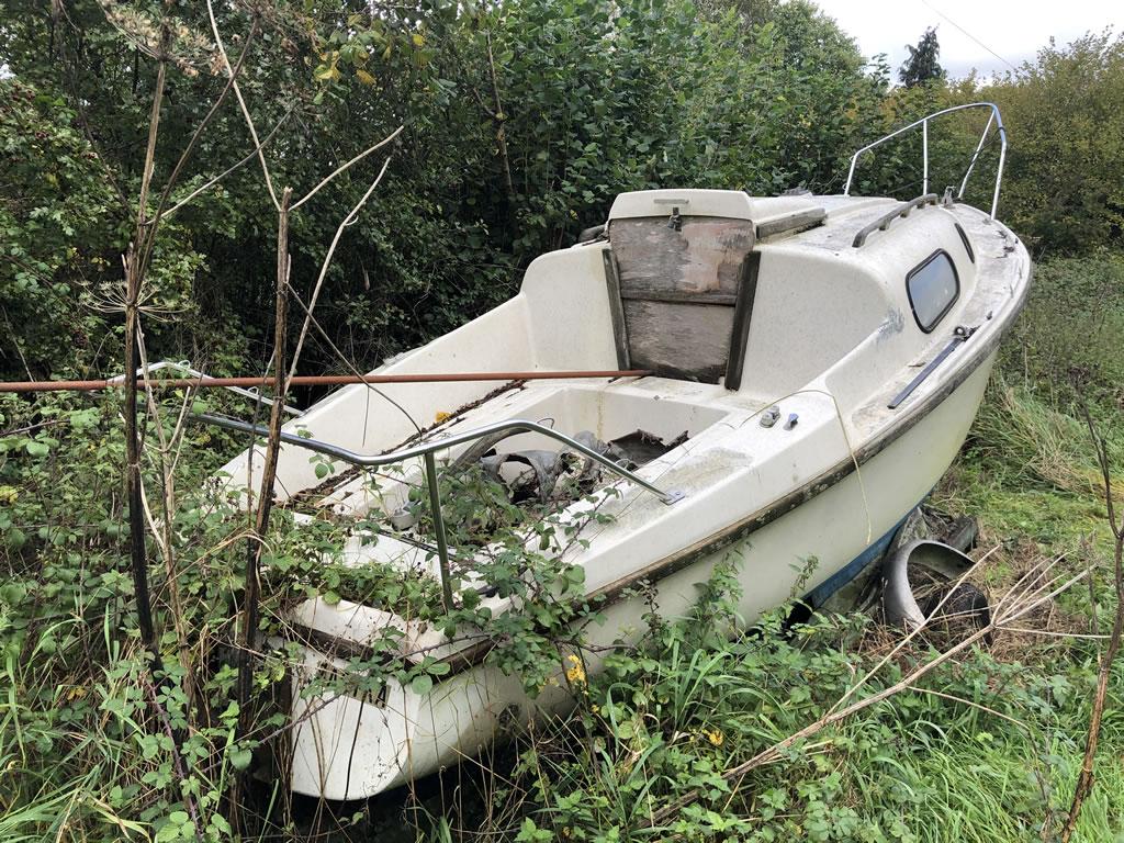 Boat in an Overgrown Field