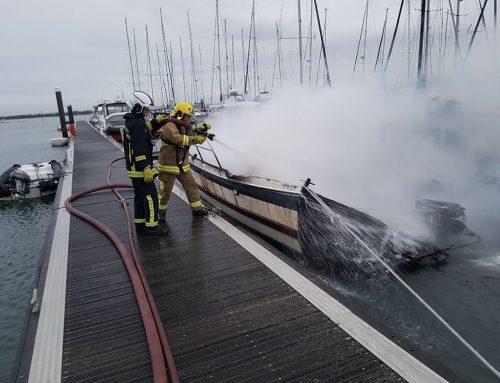 Burnt Boats in Hayling Island Marina