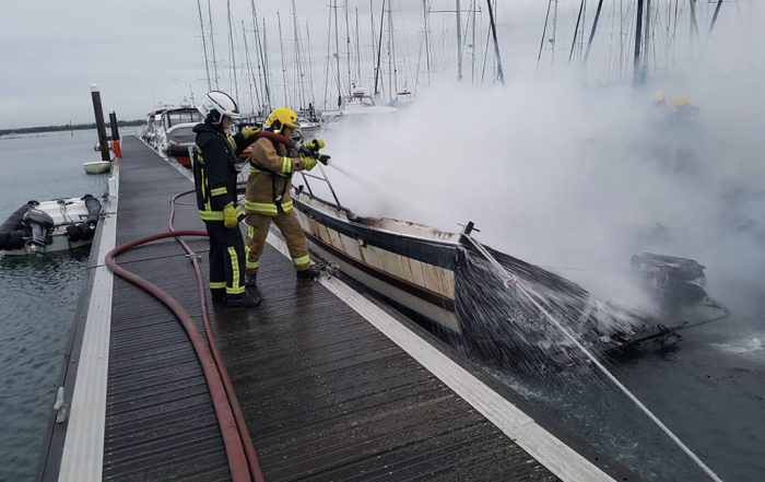 Burnt Boat Extinguished at Hayling Island Marina