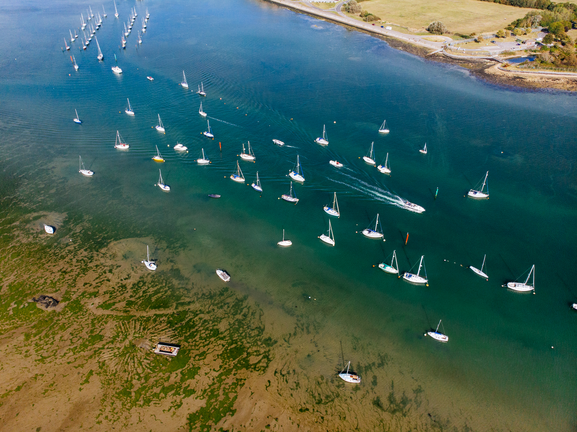boats on moorings portchester - © Brewmage