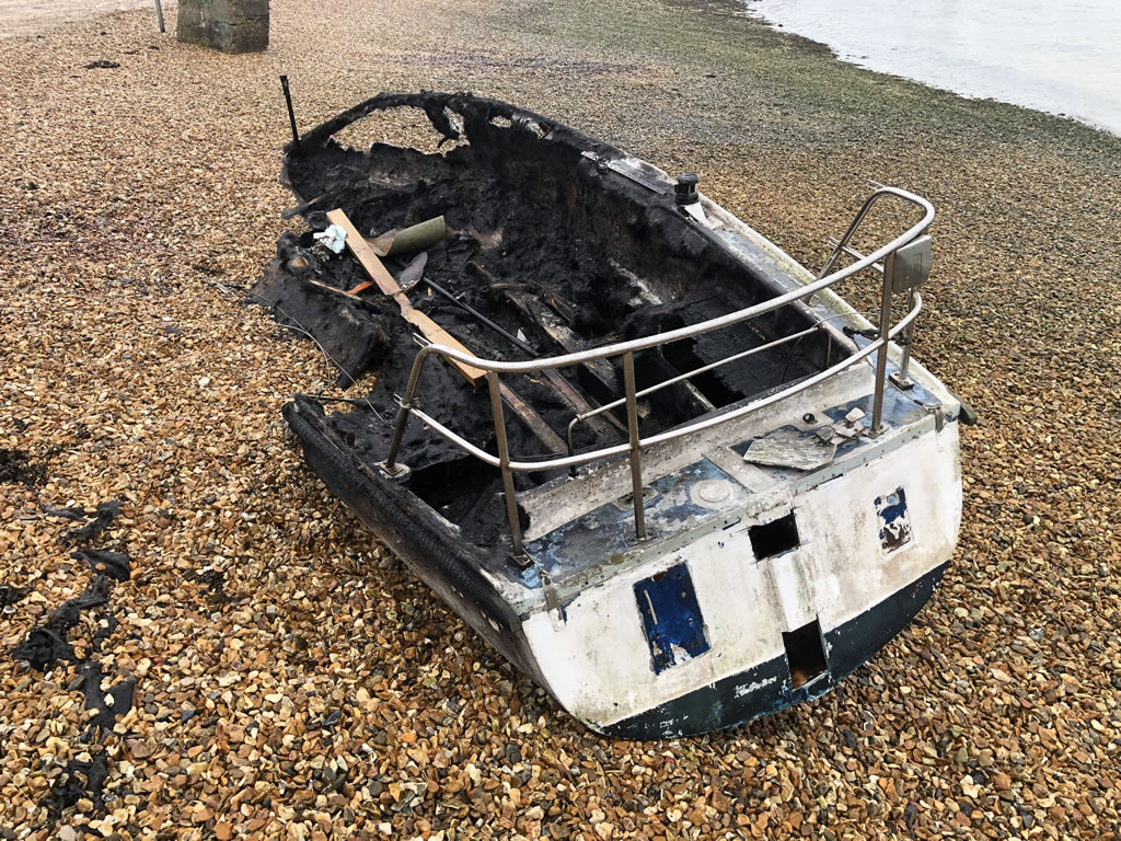 Burnt Yacht on Eastney Beach