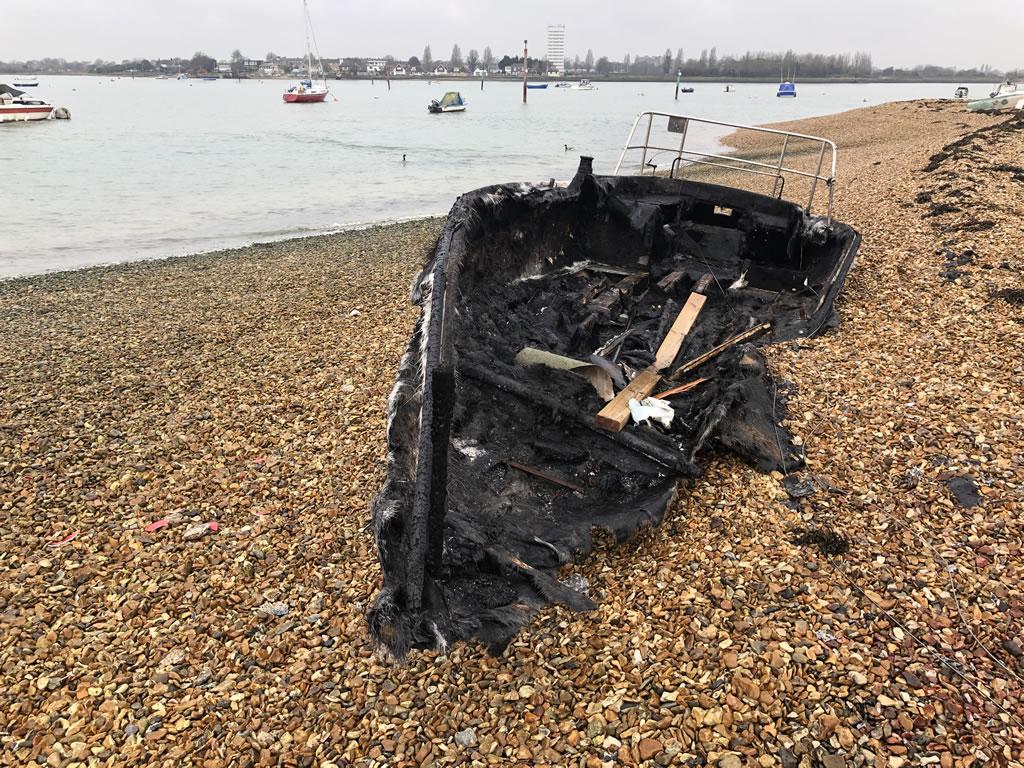 Burnt Yacht on Eastney Beach
