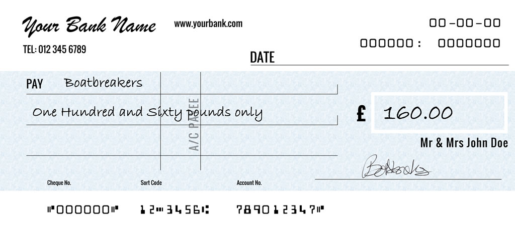 Monthly Payment Cheque Example