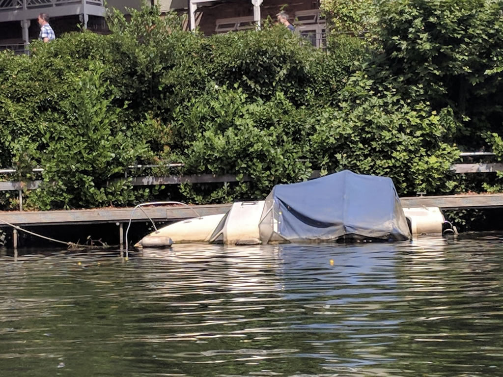 small sunken riverboat on thames © Ali Ball 2020