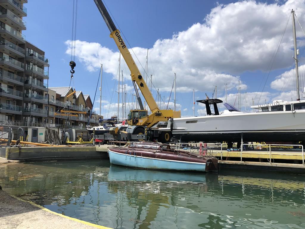 atlanta 26 classic yacht ready to lift