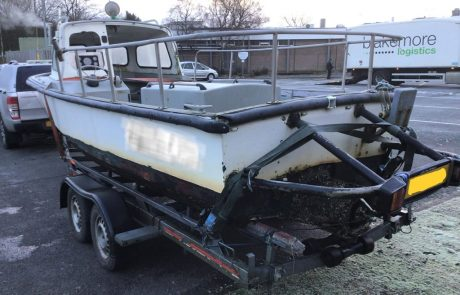 boatbreakers scotland fishing boat collection - boat on the trailer
