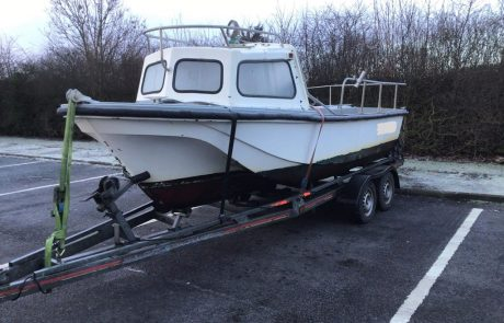 insurance wirte off fishing boat from scotland - on the trailer
