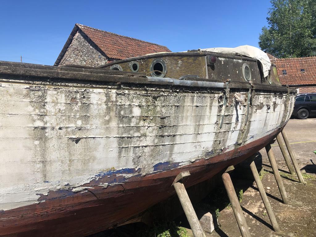 Boatbreakers Devon Wooden Yacht Disposal - boat side view
