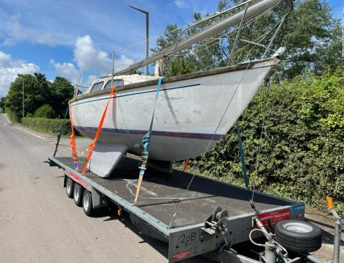 Scrap Yacht collected by Boatbreakers in The Wirral